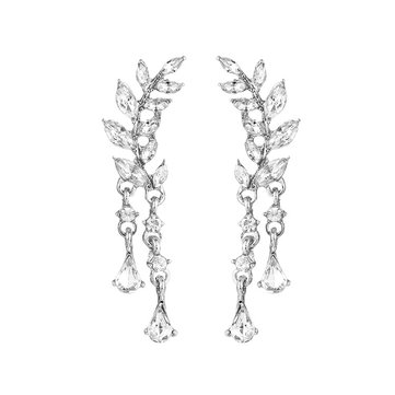Sweet Leaf Rhinestone Earrings Silver Gold  Piercing Tassel Crytral Earring for Women