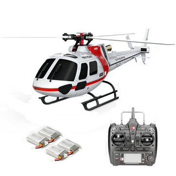 XK K123 6CH Brushless 3D6G System AS350 Scale RC Helicopter Compatible with FUTAB-A S-FHSS 4PCS 3.7V 500MAH Lipo Battery