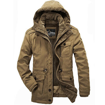 Mens Reversible Winter Outdoor Casual Thickened Coats Warm Big Size Hooded Jacket