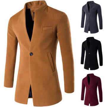 Herren Business One Button Stehkragen Mode lässig Slim Fit Wolle Jacke