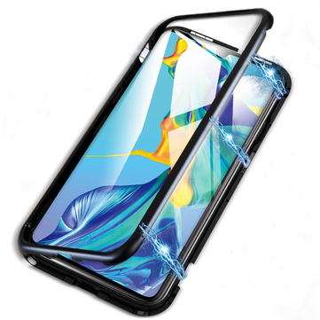 BAKEEY Magnetic Adsorption Metal Bumper Tempered Glass Flip Protective Case for HUAWEI P30