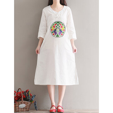 Casual Women Embroidered Kaftan Dress Long Sleeve White Navy Pockets Robes