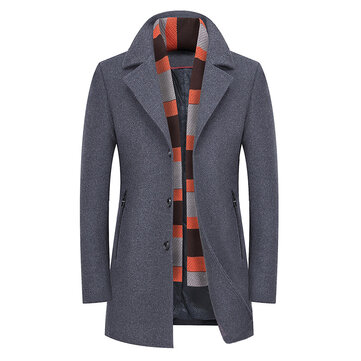 Mens Winter Thick Warm Stylish Woolen Coat Trench Overcoat with Shawl