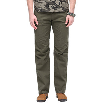 Men's Outdoor Breathable 100% Cotton Trousers Zipper Fly Comfy Casual Multi Pockets Pants