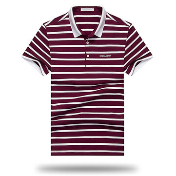 Men's Leisure Cotton Short Sleeved Golf Shirt Fashion Classic Striped Turn-down Slim Fit Tops