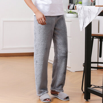 Mens Autumn Winter Thick Solid Color Warm Sleepwear Flannel Home Pants