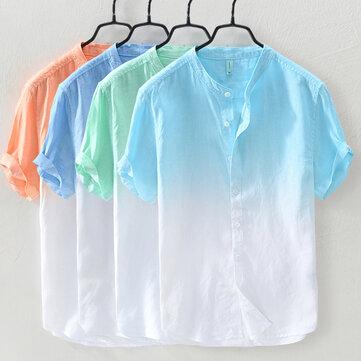 Mens Gradiente Cor Verão Na Moda Algodão Respirável Solta Camisas Casuais T