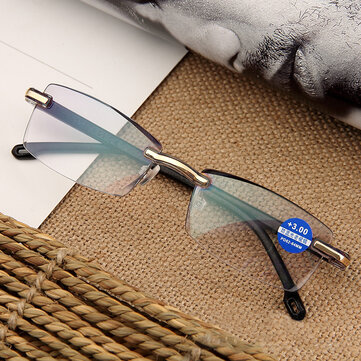 Women Round Rimless Reader Reading Glasses Rhinestone Anti-blue Light Computer Glasses