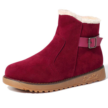 Fur Lining Suede Keep Warm Casual Cotton Snow Boots For Women
