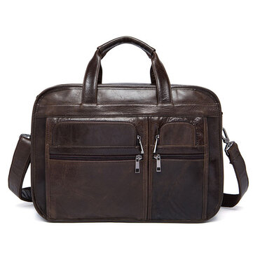 Men Genuine Leather 3 Main Bags 14 Inches Laptop Messenger Business Crossbody Bag