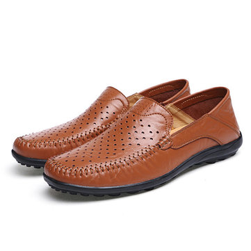 US Size 6.5-11.5 Men Flats Casual Outdoor Leather Slip-On Hollow Out Flats Shoes