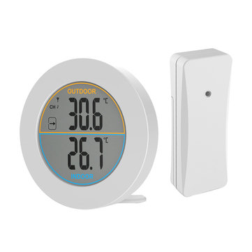 Round ABS Wireless Sensor Home Use Digital Indoor Outdoor Thermometer Temperature Monitor Neutral LCD Display