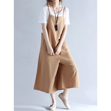 O-NEWE Casual Women Loose Solid Strap Pockets Overall Jumpsuits