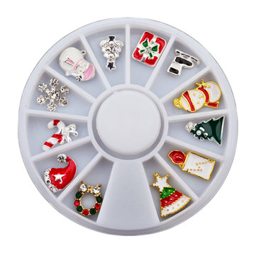 Christmas Nail Art Decoration Wheel Snowman Snowflake Sled Rhinestones DIY Design