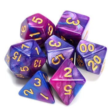 Polyhedral Dice Purple&Blue 7 Piece D&D RPG MTG Party Game Toy Set