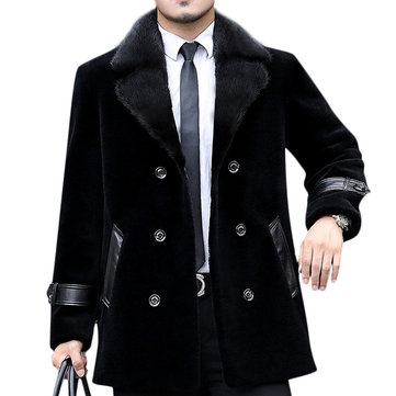 Mens Mid Long Winter Warm Faux Fur Collar Faux Leather Splice Double-breasted Coats