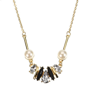 JASSY® Stylish Crystal Pearl Element Delicate Necklace Fashion Jewelry for Women
