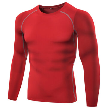 Mens Fitness Tights Elastic Wicking Long-sleeved T-shirt Basketball Running Training Tops