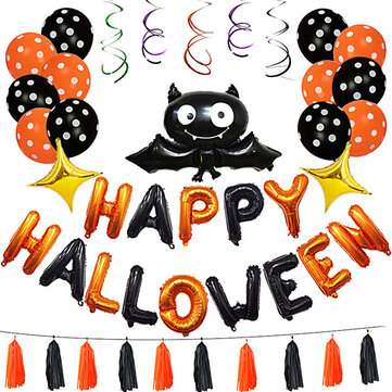 1 Set Happy Halloween Decorations Bat Balloon Party Hanging Letter Balloons Prop