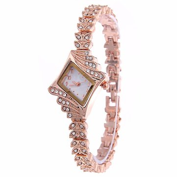 Mode Dames Jurk Horloge De Diamond Shape Crystal Leaf Dames Armband Quartz Horloge