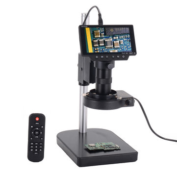 HAYEAR 5 Inch Screen 16MP 1080P 60FPS HDMI USB & WIFI Digital Industry Microscope Camera +Table Stand +100X C-mount Lens +40 LED Light