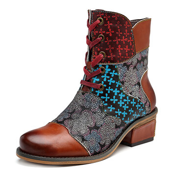 SOCOFY Genuine Leather Splicing Pattern Zipper Ankle Boots