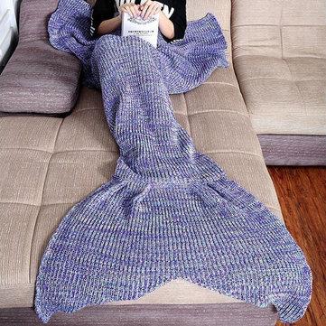 Honana WX-37 180x90cm Tricô Mermaid cauda cobertor Home Office Acrílico Fibras Warm Soft Sleep Bag