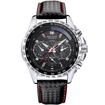 MEGIR 1010 Brand Men Watch Alloy Case Leather Strap Lumious Male Sport Casual Quartz Wrist Watch