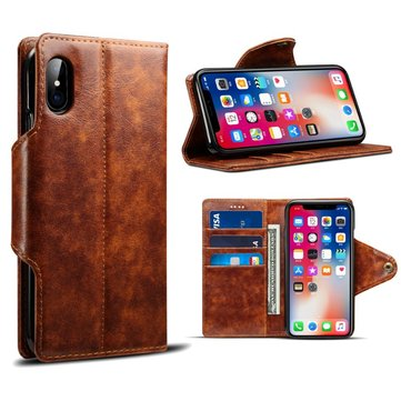 Vintage Leather Magnetic Buckle Flip Wallet Kickstand Caso Para iPhone X