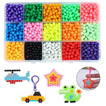 2400Pcs Fuse Beads Water Sticky Beads Refill DIY Art Crafts Kids Toys Beads Case Decorations
