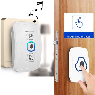 Wireless Door Bell Cordless Plug In Doorbell LED Flash 32 Chimes 150M Range Home