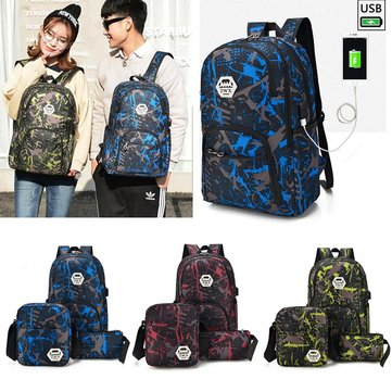 3Pcs Men's Women's Water Resistant Laptop Bag Travel Backpack With External USB Charging Port