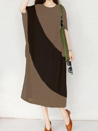 Women Loose Batwing Color Block Kaftan Mid Long Dress