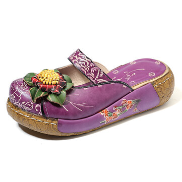 SOCOFY Handmade Genuine Leather Floral Hollow Platform Sandals
