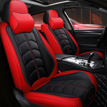 Universal Deluxe 5 Seat Car Leather Seat Front Rear Covers Cushion Pillows