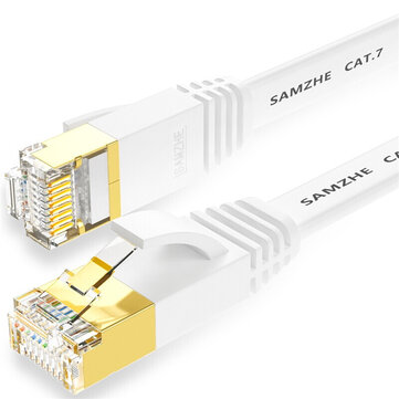 SAMZHE 1~10M CAT7 STP 10Gbps White Flat RJ45 Ethernet Patch Cable Networking LAN Cable