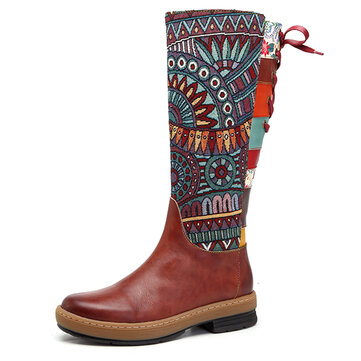 SOCOFY Embroidery Shoe Splicing Pattern Flat Leather Knee Boots