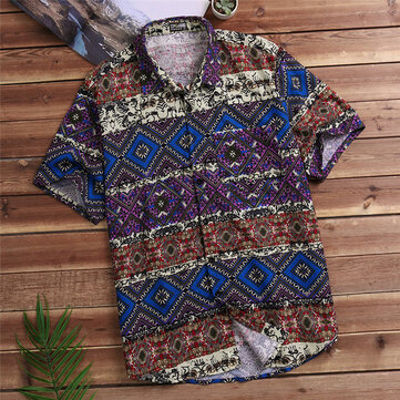 INCERUN Plus Size Loose Ethnic Style Mayan Printing Shirts With Chest Pocket for Men