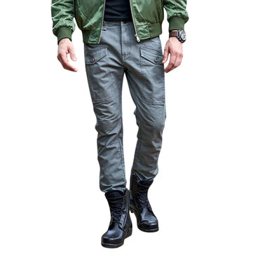 Men's Outdoor Cotton Tactical Loose Military Zipper Fly Mutil Pockets Cargo Pants