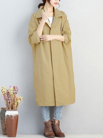 Casual Women Long Sleeve Turndown Collar Solid Button Coat