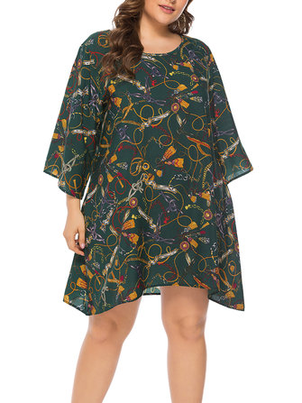 Plus Size Casual Printed Long Sleeve Short Dress