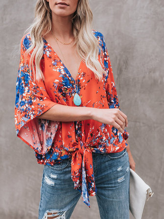 Women Casual Print V-Neck Chiffon Blouse