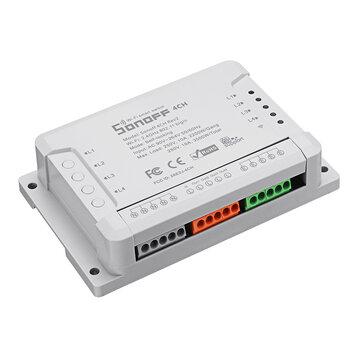 SONOFF® 4CH R2 4 canali 10A 2200W 2.4 GHz Smart Home WIFI Wireless Switch APP remoto Controllo CA 90 V-250 V 50/60 Hz Montaggio su guida DIN Modulo domotico