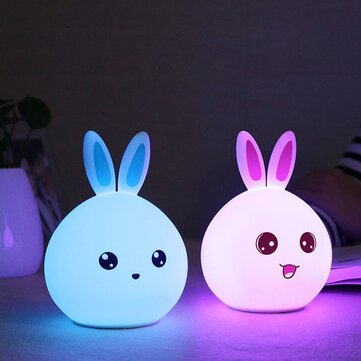 Color Changing Silicone Rabbit Night Light Remote Control Rechargeable Bedside Lamp