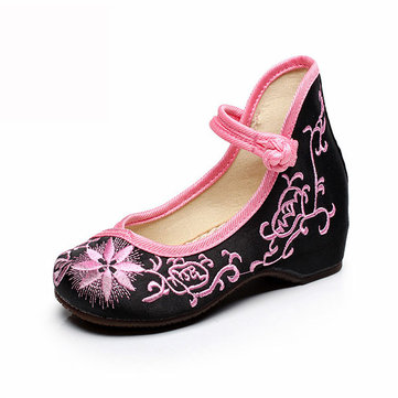 Girls Mary Janes Chinese Embroidery Cotton Shoes Cloth Flats Breathable Silk Loafers Casual