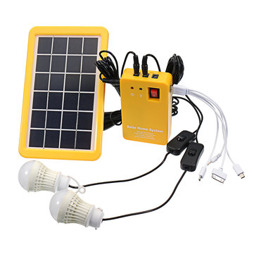 3W Solar Powered System Solar Panel Charging Generator 5V USB Power Generation System with 2 Bulbs