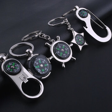 Honana DX-201 Mini Compass Guiding Keychain For Outdoor Hiking Camping Travelling With Bottle Opener