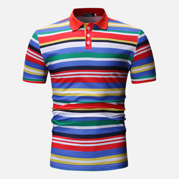 Hombres Colorful Stripe Muscle Fit Golf Camisa