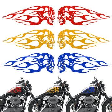 2pcs 13.5x5inch universale serbatoio del motociclo fiamme fiamme distintivo del cranio decalcomania rosso / blu / giallo