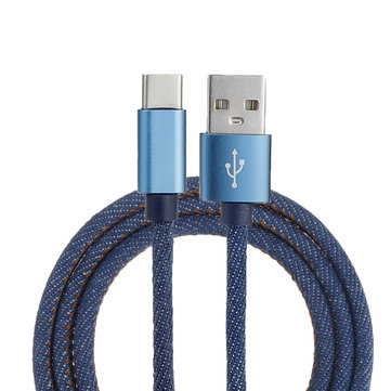 1M 2.4A Type C Fast Charging Denim Braided Data Cable For Smartphone Tablet